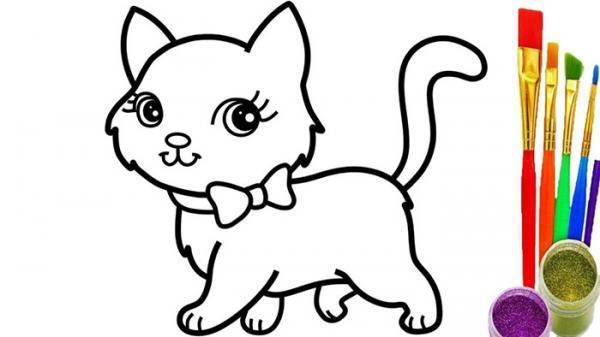 نقاشی بچگانه گربه؛ زیباترین طرح های گربه برای رنگ آمیزی بچه ها